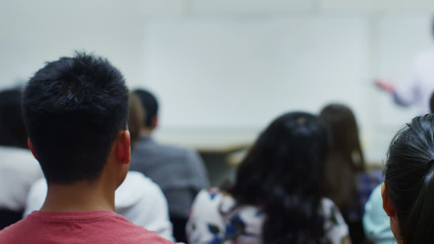 View from behind of a large mixed ethnicity group of students in a classroom, listening as their teacher holds a lecture. One student puts up his hand to ask a question. | Shutterstock HD Video #14099984