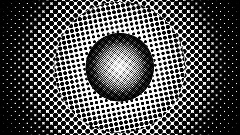 A hypnotic animation of rotating circles with halftone effect in black and white