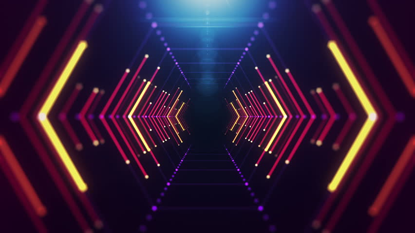 Abstract background with animation of flight in abstract futuristic tunnel with neon light. Animation of seamless loop.  | Shutterstock HD Video #14159579