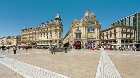 MONTPELLIER, FRANCE - MAY 22, 2015: People are walking on the Place de la Comédie square in Montpellier, one of the main focal points of the city.