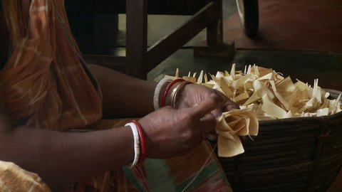 Baruipur, India - CIRCA 2013 - Indian women working making flower petals