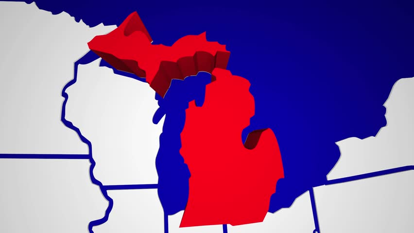 Michigan MI Animated State Map USA Zoom Close Up Stock Footage