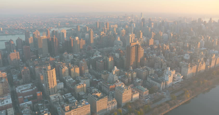 Aerial view of the Upper East side of Manhattan at sunset December 2015 #14219774