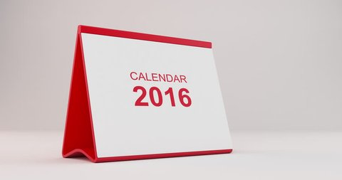 A monthly 2016 calendar sitting on a white background. The calendar is red in colour. Pages start to flip from left bottom corner and fly away after tearing. High quality render in 4K resolution.