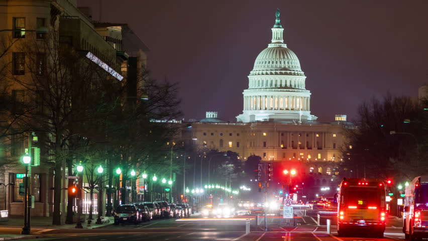 c9b1e14b81 WASHINGTON DC - FEB 19  timelapse view over the Capitol Building by night  which is the seat of the United States Congress on 19 February 2014 in  WASHINGTON ...