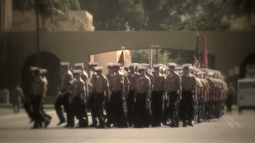 MCRD San Diego, CA - Marching straight, turn to left of frame