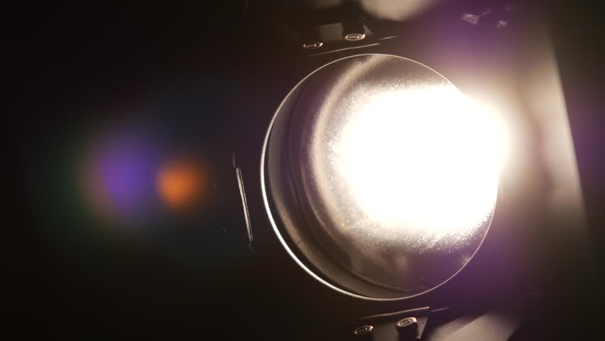 Lighting equipment, flash or spotlight, on and off, black, close up #14284825