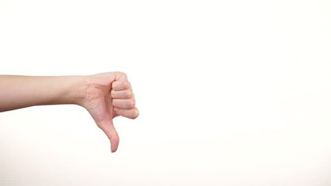 Female hand showing thumb up, ok, all right, victory, thumb down failure hand sign gesture. Gestures and signs. Body language on white background 4K ProRes HQ codec