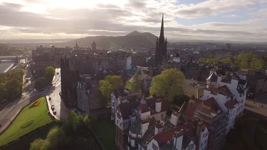 Beautiful aerial view of Edinburgh's old town at dawn.