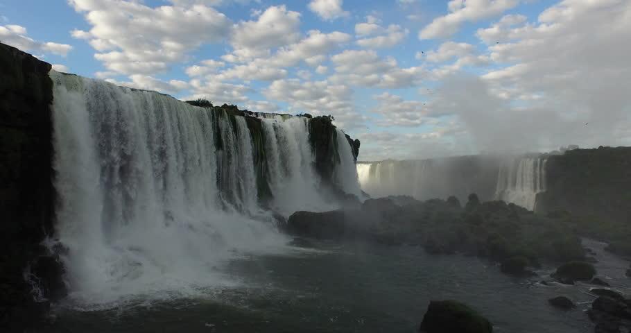 Jun,2015 - Misiones Province, Argentina/Parana State, Brazil: drone aerial shot of the Iguazu Falls which borders Misiones Province, Argentina/Parana State, Brazil | Shutterstock HD Video #14325547
