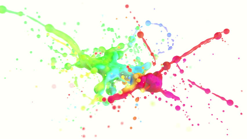 4k multi color paint splash in slow motion isolated on white with alpha (uhd 3840x2160, ultra high definition, 1920x1080, 1080p) | Shutterstock HD Video #14349076