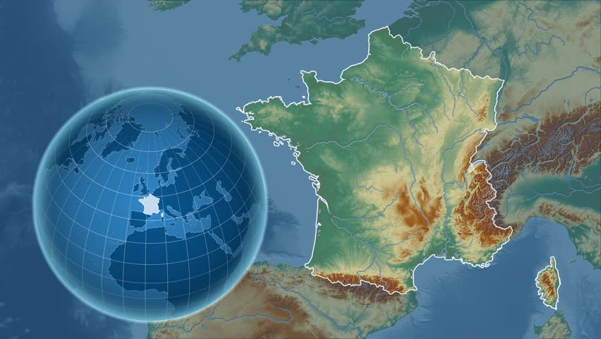 France Shape Animated On The Physical Map Of The Globe Stock
