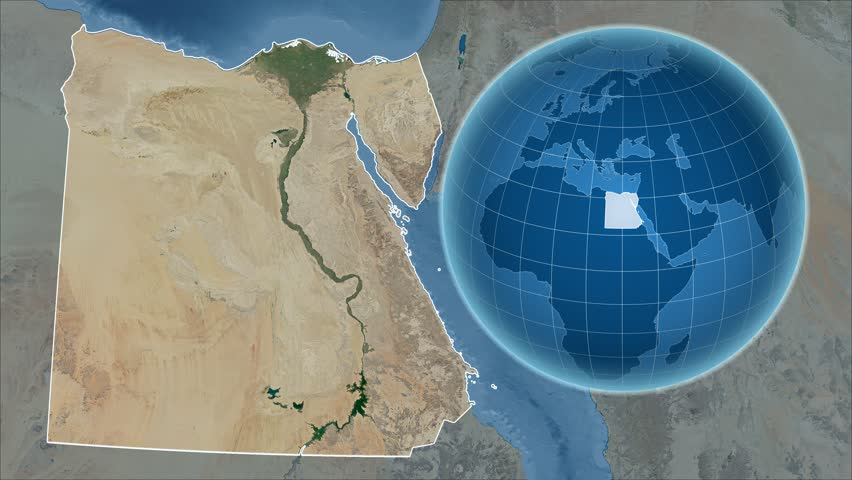Egypt Shape Animated On The Satellite Map Of The Globe Stock - Hd satellite map