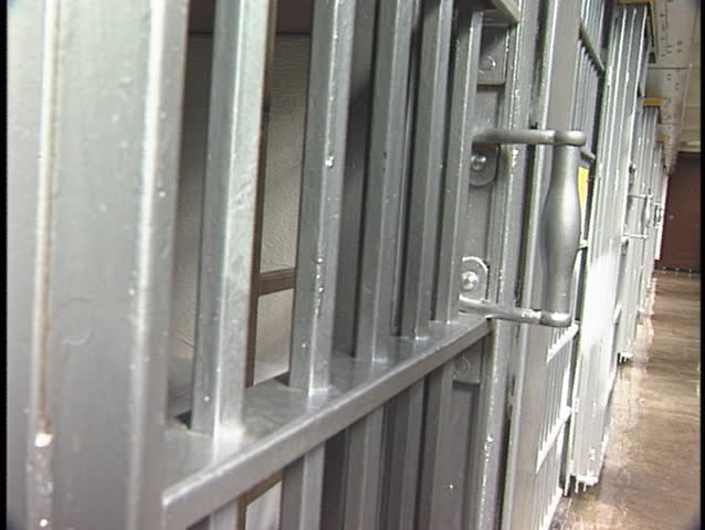 A jail-cell door opens and closes.