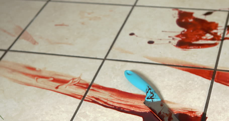 Blood Pooled On Kitchen Floor Tile 4k Stock Footage Video