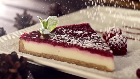 Cake and powder in slow motion