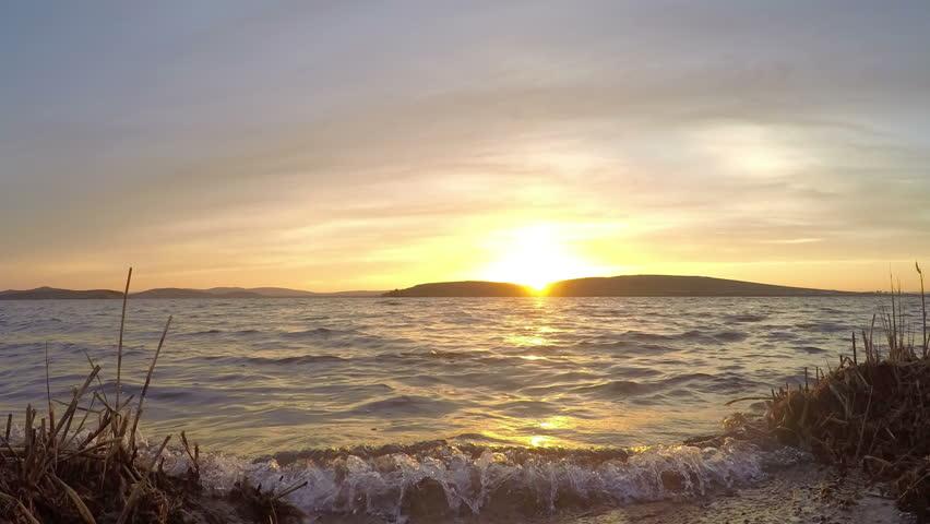 Sunset on the lake Fyrkal, Fyrkal village. Republic of Khakassia, Russia, Full HD  | Shutterstock HD Video #14381944
