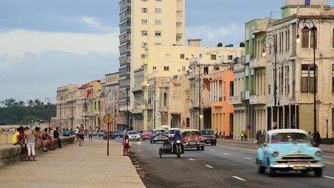 Cuba, Havana, Centro Habana, the Malecon, classic 1950's American cars