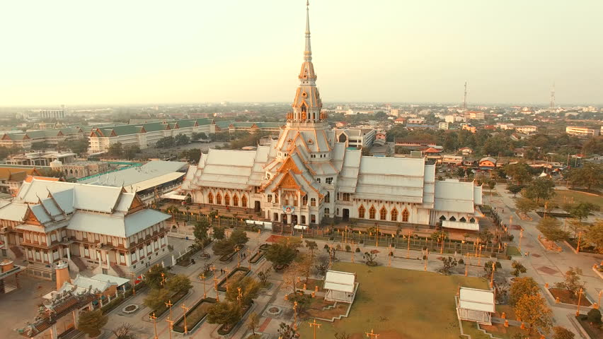Aerial view of wat sothorn templein chachengsao province eastern of thailand important buddhist religion church landmark in thailand | Shutterstock HD Video #14454454