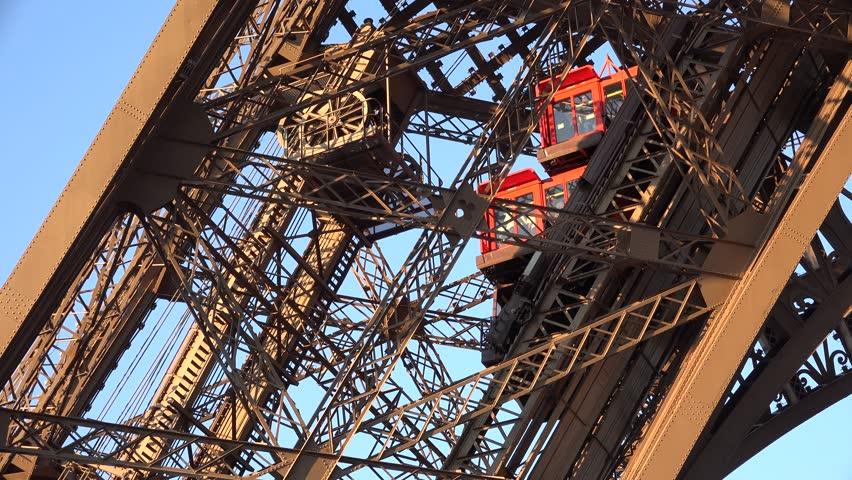4K Eiffel Tower Elevator Paris Detail Closeup Attraction Tourists Traveling View