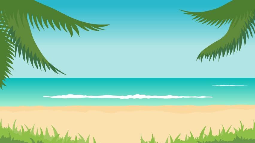 Tropical Island Cartoon: Cartoon Animated Ocean Waves And Island At Sunset With