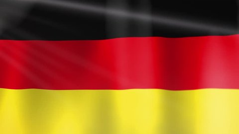 Flag of Germany. An animated German Flag waving with light and flares. Camera moves slowly with sharpness relocation. Germany is in the European Union. The capital is Berlin.