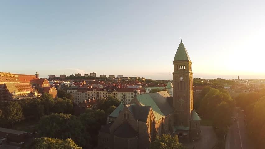Sunset in Swedish city.
