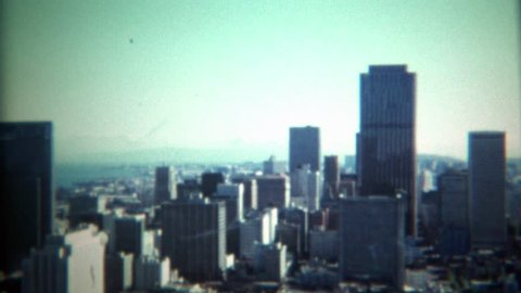 SAN FRANCISCO, CALIFORNIA 1971: Skyline of city looking south on financial district and downtown.
