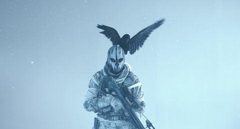 The soldier with the crossbow and Raven. Fantasy. The post Apocalypse.