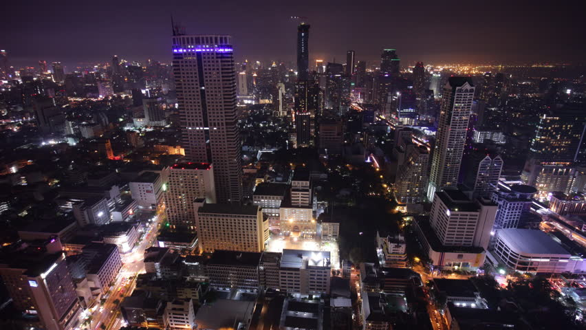 Bangkok city center roof top night light panorama 4k time lapse thailand | Shutterstock HD Video #14584984
