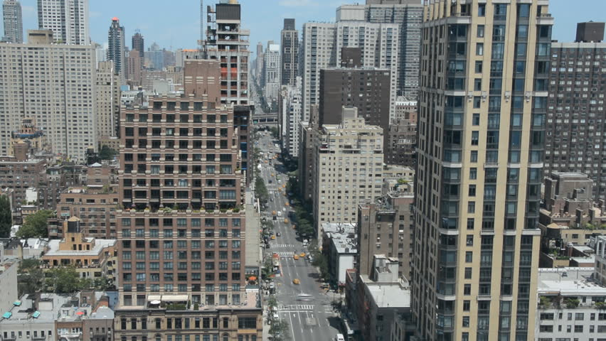 Timelapse New York City Avenue Aerial View Car Passing Panoramic View Skyscraper | Shutterstock HD Video #14625913