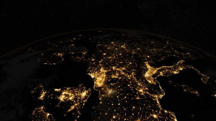 At Night Over Europe The European States From Space Clip - Earth at night map