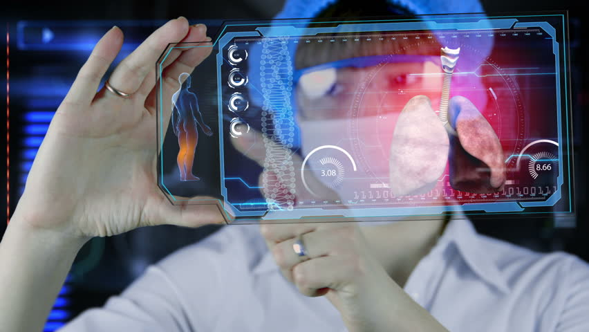 Doctor with futuristic hud screen tablet. lungs, bronchi. Medical concept of the future   Shutterstock HD Video #14648584