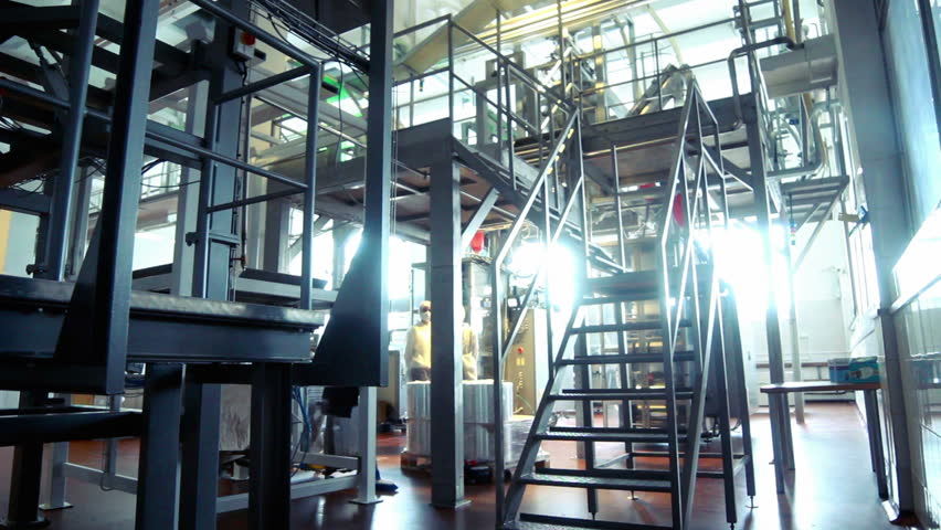 Worker climb metal stairs at modern factory/Interior of milk factory/People work in large shop at dairy factory/Milk processing line/Food processing plant/Industrial workshop at factory/Food industry