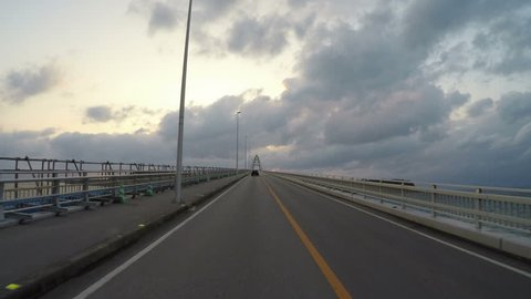 Sunset drive over the bridge connecting Sesoko Island in Okinawa. (Round trip Part 1)