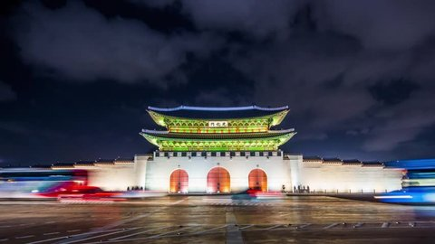 Time lapse of Gyeongbokgung palace and traffic speeds of car light at night in Seoul,South korea.