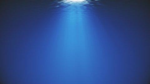 4K Lightrays Shining through Deep Ocean Water Surface Backdrop for Aquatic Scenes Animation