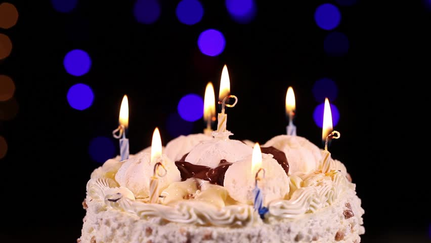 Stock Video Of Happy Birthday Cake With Burning Candles 14705374