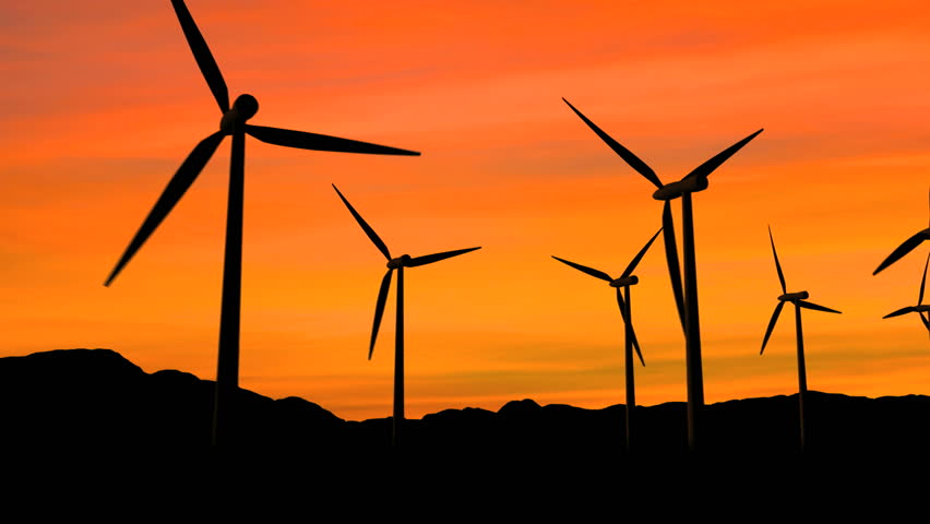 Wind turbines at sunset, green energy. HD Version