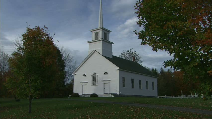White Vermont Country Church In Early Fall