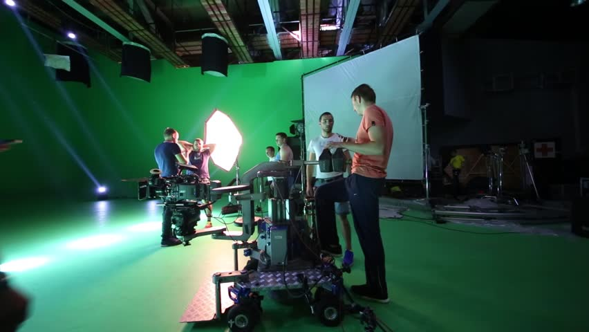 MOSCOW - JULY, 23: Professional camera on truck and film crew on Bukatara shooting video Turn. Another common technique of chromakey is called keying