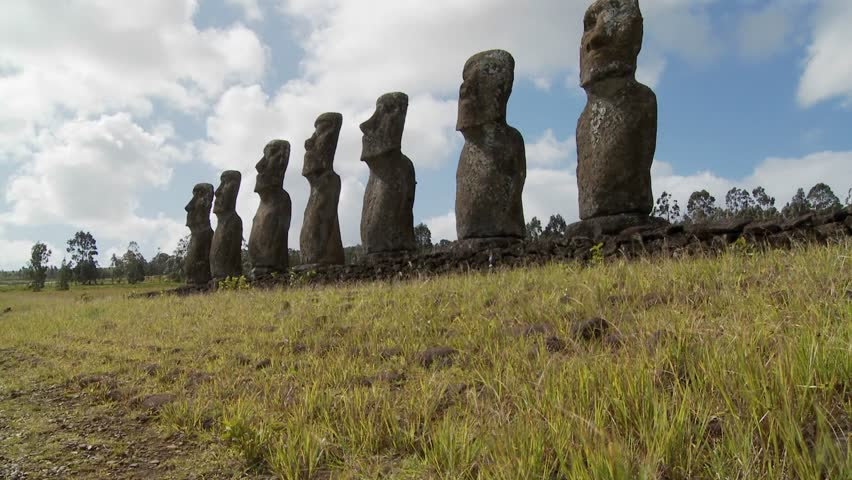 Tilt up to the mysterious and wondrous Easter Island statues.