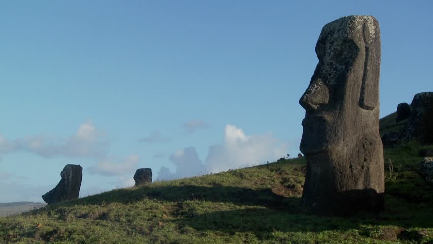 Unfinished statues stand at the quarry on Easter Island.