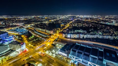 Aerial view of Berlin city with Traffic on road at night. Timelapse view.