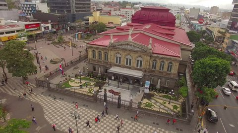 SAN JOSE, COSTA RICA - FEB 18, 2016: National Theatre of Costa Rica in San Jose, Costa Rica on Feb 18, 2016.The building is considered the finest historic building in the capital.