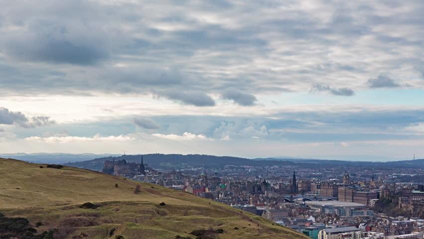 Timelapse Overlooking Edinburgh Taken From Arthur's Seat