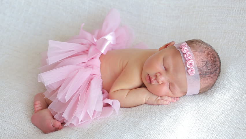 78b530f2ffac Cute Newborn Baby Girl Sleeping Stock Footage Video (100 ...