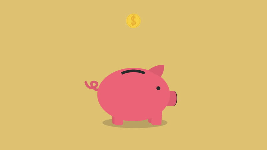 golden coins falling into a cute pink Piggy Bank Loop with space for your text. nice animation of saving money concept, passive income concept. putting coins in pink piggy bank. piggy bank gets filled