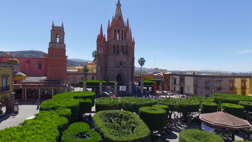 Aerial shot in front of the Catedral and the kiosk in San Miguel de Allende Guanajuato Mexico