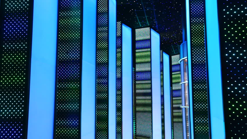 nightclub interiors done in form glowing night city, walls of houses from luminous LED panels #1484914